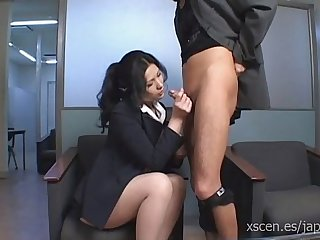 Chinami Sakai japanese secretary gives a hot blowjob