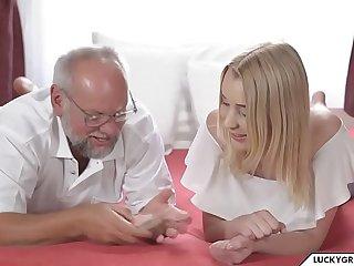 Granddaughter plays strip poker with Grandpa