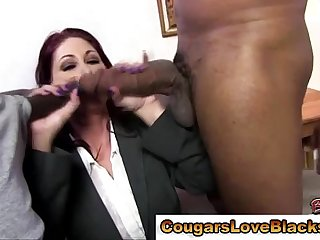 Interracial mature bitch sucks on cocks