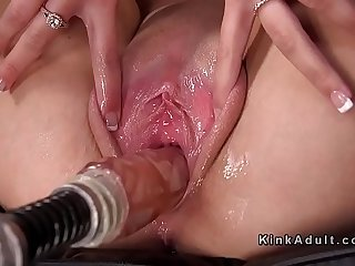 Hot blonde spreads pussy for fucking machine