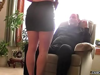 Beautiful wife blindfolded and shared by her husband (humiliation, old guy, hard, moans)
