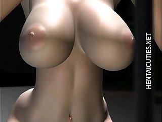 3D hentai girl in glasses slurp cum