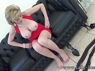 Lady Sonia Little Red Dress And Sheer To Waist Pantyhose