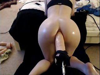 babe takes big dildo in her ass by machine - xcamvidz.net