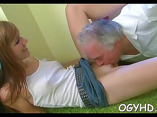 Nice young babe rides old dong