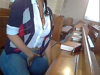 Analbabsi - Babsi masturbates inside the Church